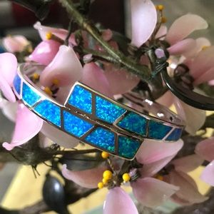 Vintage 925 inlay fire opal cuff